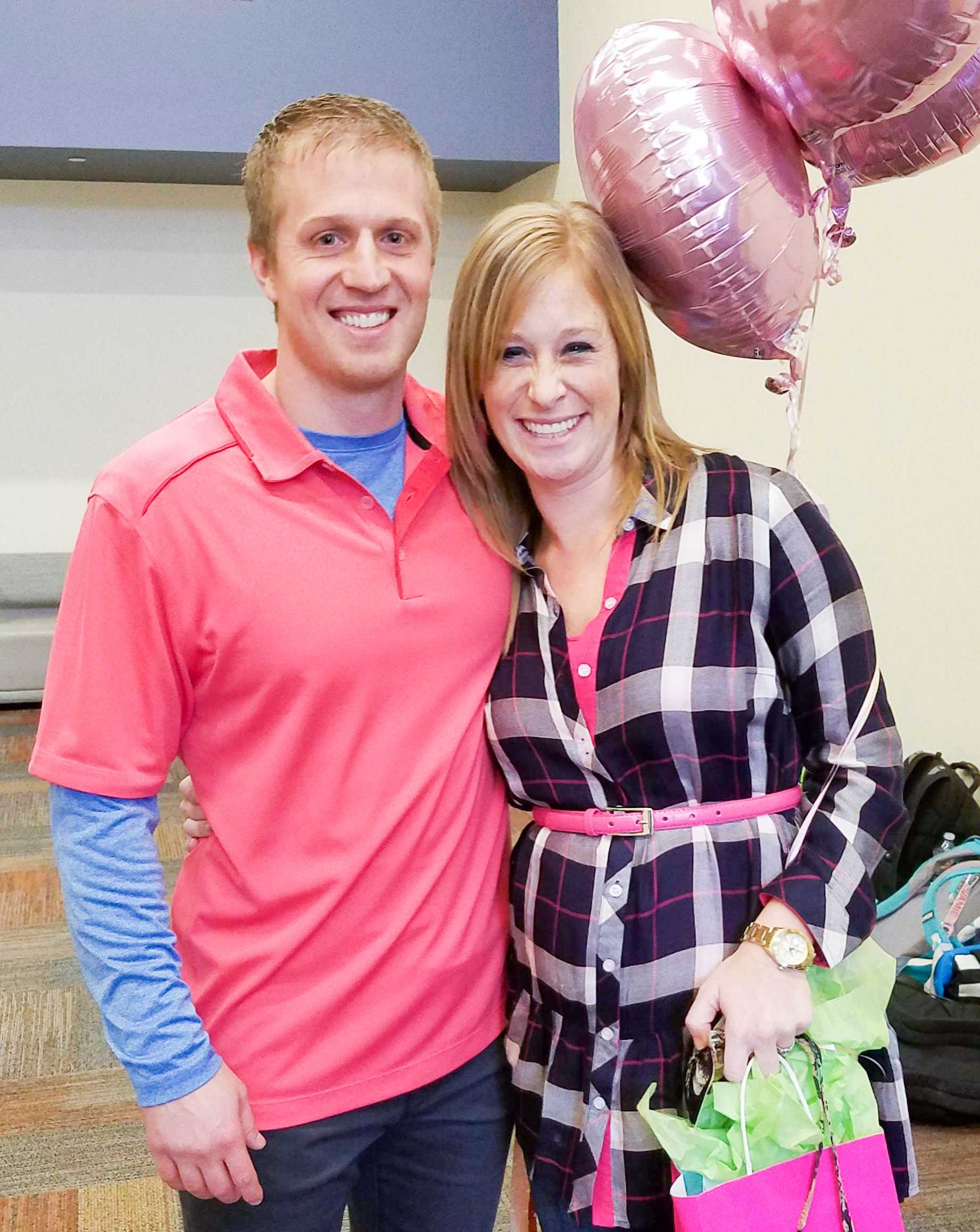 It's a girl for Seventh grade Bible teacher Eric Leininger and Upper School Math teacher Lauren Leininger. As part of the Sanctity of Life Chapel, the Prestonwood Pregnancy Center performed a live sonogram on Mrs. Leininger which was projected on the big screen to show students their unborn child and reveal the baby's gender.