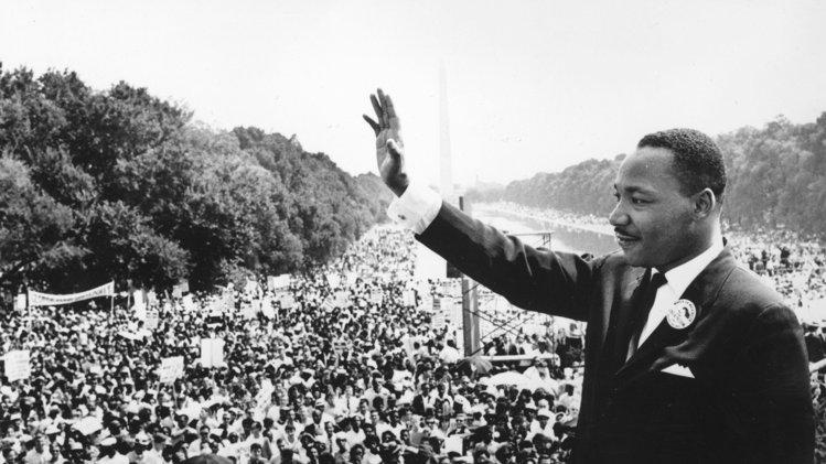 The Reverend Dr. Martin Luther King, Jr. brings passion to the crowds at the March on Washington with his