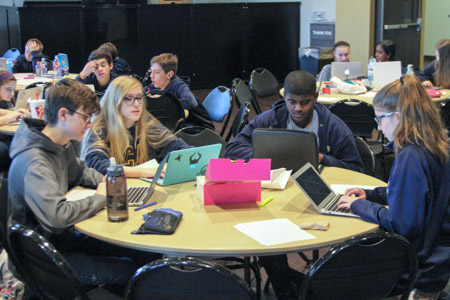 Sophomores Joel Gray, Mackenzie Nazworth, Javan Bouton and Jamie Edwards work quickly during the timed State qualifier last Spring. The first in-house competition of the year takes place in late September.
