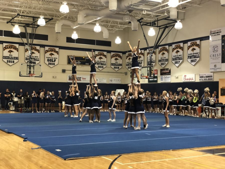 The Varsity Cheerleaders take the mat to encourage spirit among the student body. The level of excitement was palpable in preparation for the first home game.