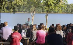 Before the crazy arrival of the underclassmen, Director of Worldview, Mr. Dan Panetti gave a devotional to the Seniors. Focusing on God's creation was very easy to do with the view of the Sky Lake in the background.