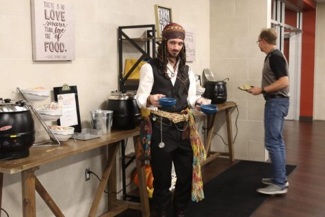 Freshman and Sophomore geometry teacher Mr. Cunningham dressed up as Captain Jack Sparrow from  The Pirates of the Caribbean. Showing the kids how it