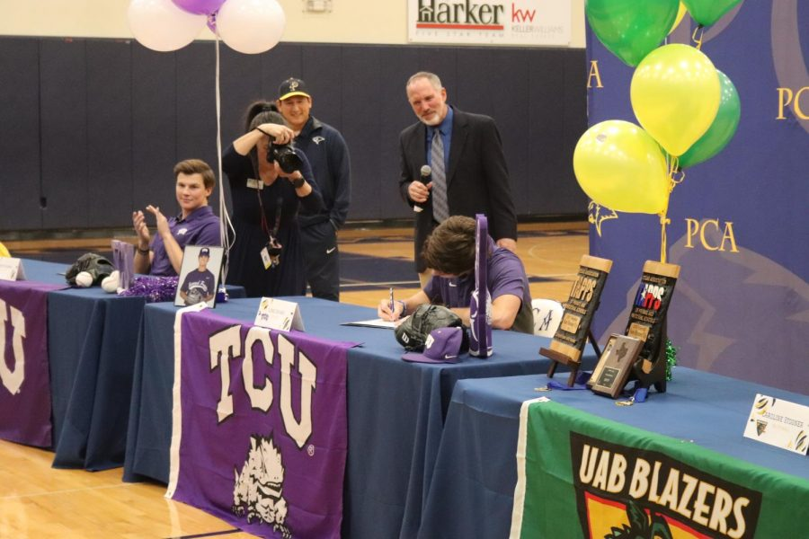Senior Luke Savage also joined his teammate River Ridings in playing in purple for the next 4 years. Savage signed for TCU baseball. The whole school is so proud of all of these athletes and cannot wait to cheer them on in college athletics.