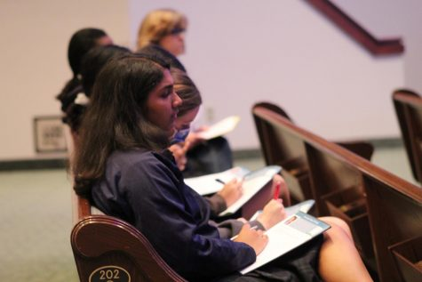 Junior Ronia Christopher is captivated by the speaker.